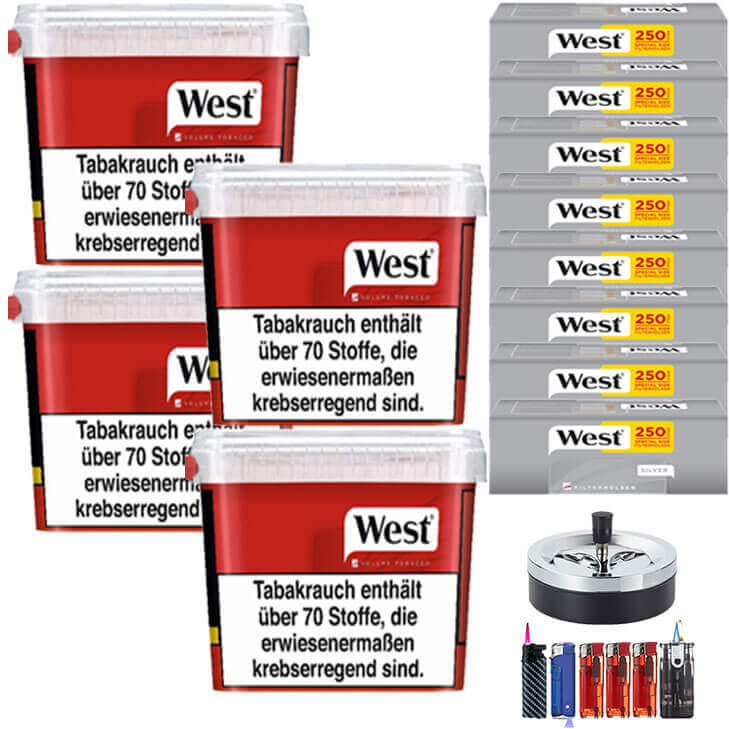 West Red 4 x 300g Volumentabak 2000 West Silver Special Size Filterhülsen Uvm.