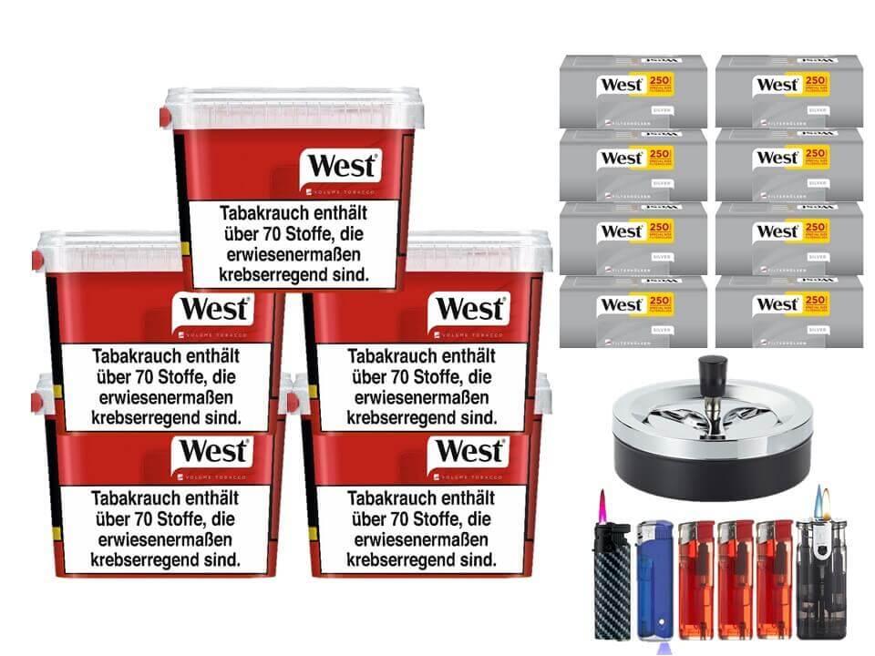 West Red 5 x 170g Volumentabak 2000 West Silver Special Size Filterhülsen Uvm.