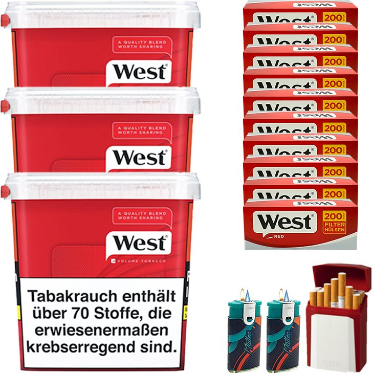 West Red 3 x 280g mit 2000 King Size Hülsen