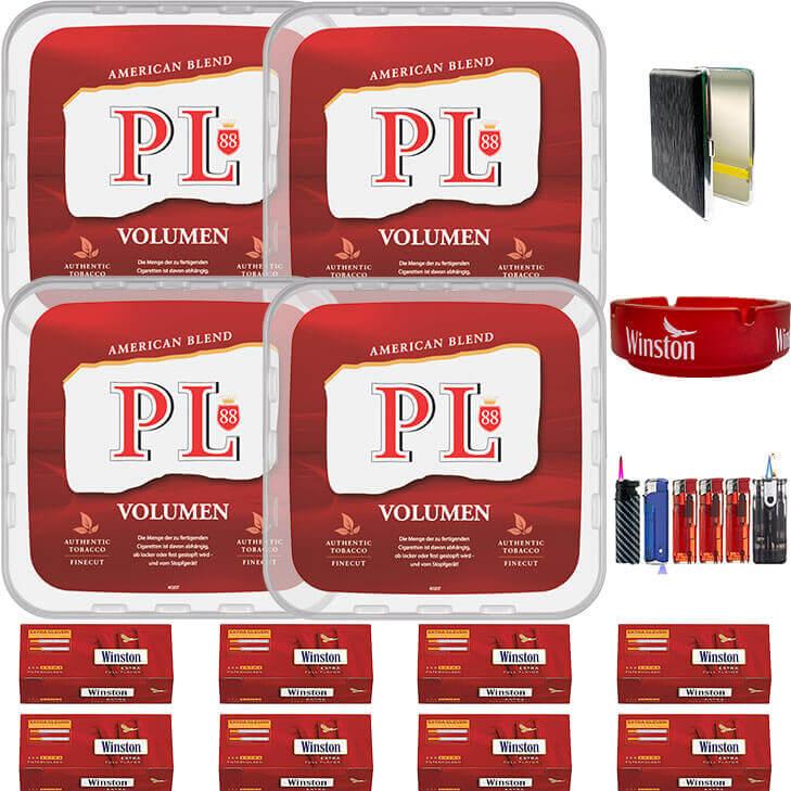 PL88 Red 4 x 400g Volumentabak 2000 Extra Size Filterhülsen Uvm.