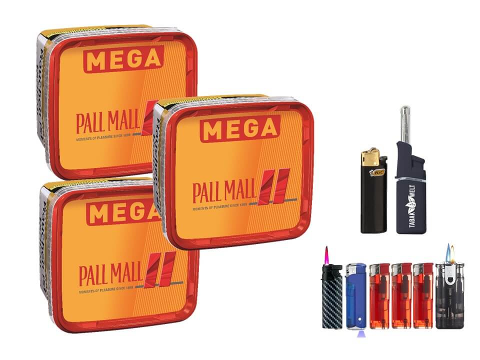 Pall Mall Mega Box 3 x 170g Volumentabak Feuerzeug set