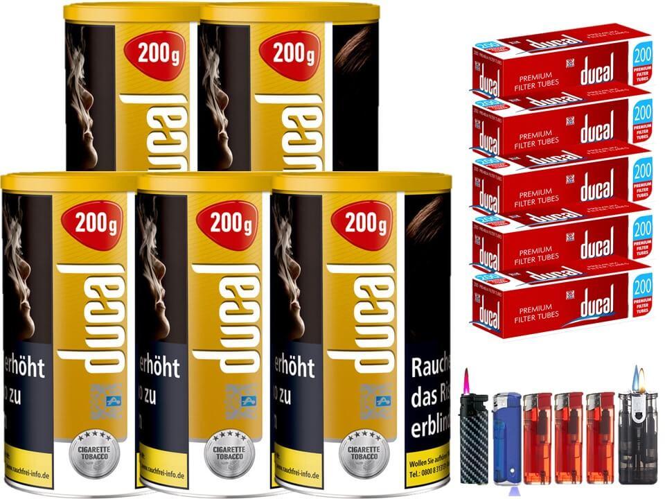 Ducal Gold 5 x 200g Feinschnitt / Zigarettentabak 1000 Filterhülsen Uvm.