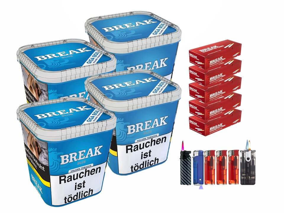 Break Blue / Blau 4 x 240g Volumentabak 1000 Break Filterhülsen Uvm.