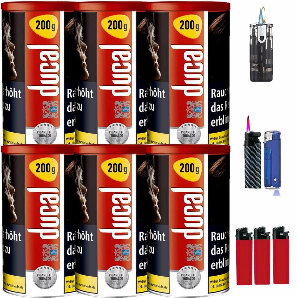 Ducal Red / Rot 6 x 200g Feinschnitt / Zigarettentabak Feuerzeug Set