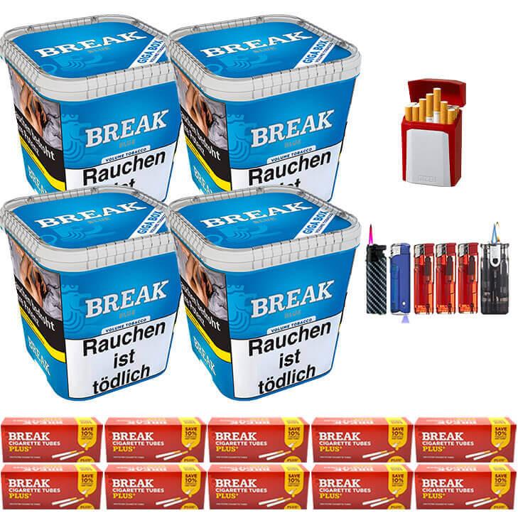 Break Blue / Blau 4 x 240g Volumentabak 2000 Special Size Filterhülsen Uvm.