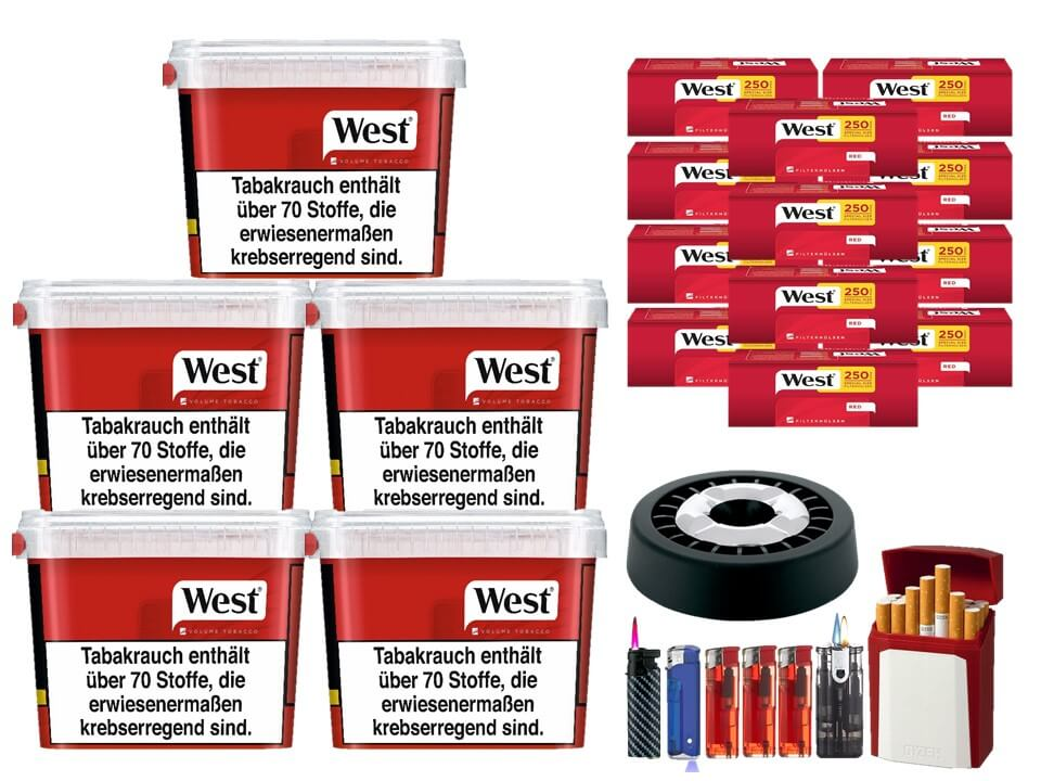 West Red 5 x 280g Volumentabak 3000 West Red Special Size Filterhülsen Uvm.