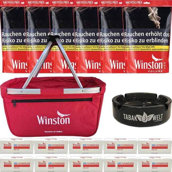 Winston Red 6 x 135g mit 2000 King Size Hülsen
