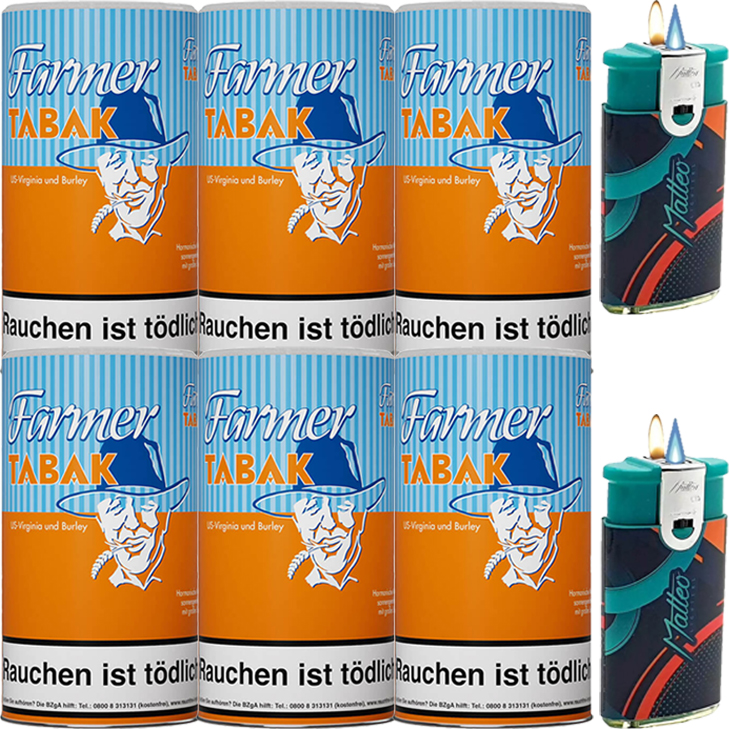 Farmer 6 x 170g Pfeifentabak  mit Duo Feuerzeuge