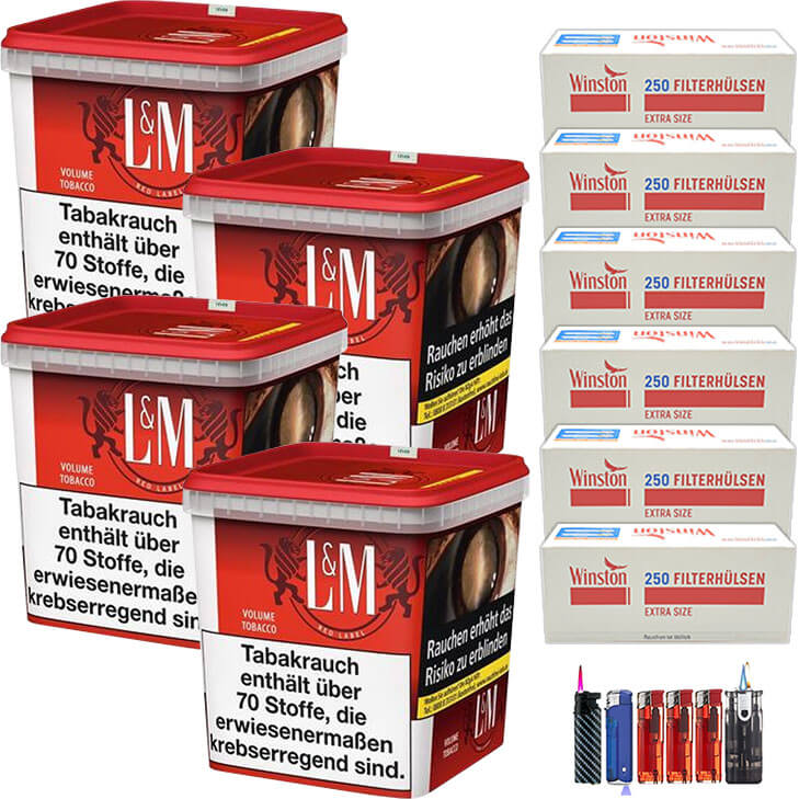 L&M Red Super Box 4 x 280g Volumentabak 1500 Special Size Filterhülsen Uvm.
