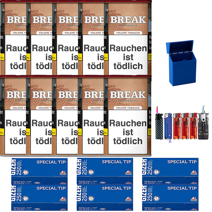 Break Authentic 10 x 75g Volumentabak 1500 Filterhülsen Uvm.
