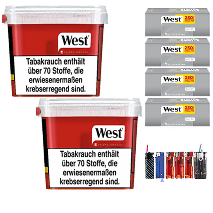 West Red 2 x 300g Volumentabak 1000 West Silver Special Size Filterhülsen Uvm.