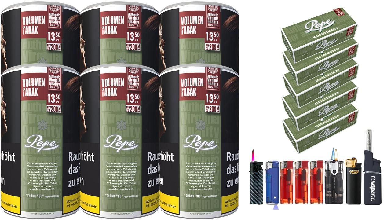 Pepe Rich Green 6 x 85g Volumentabak 1000 Pepe Filterhülsen Uvm.