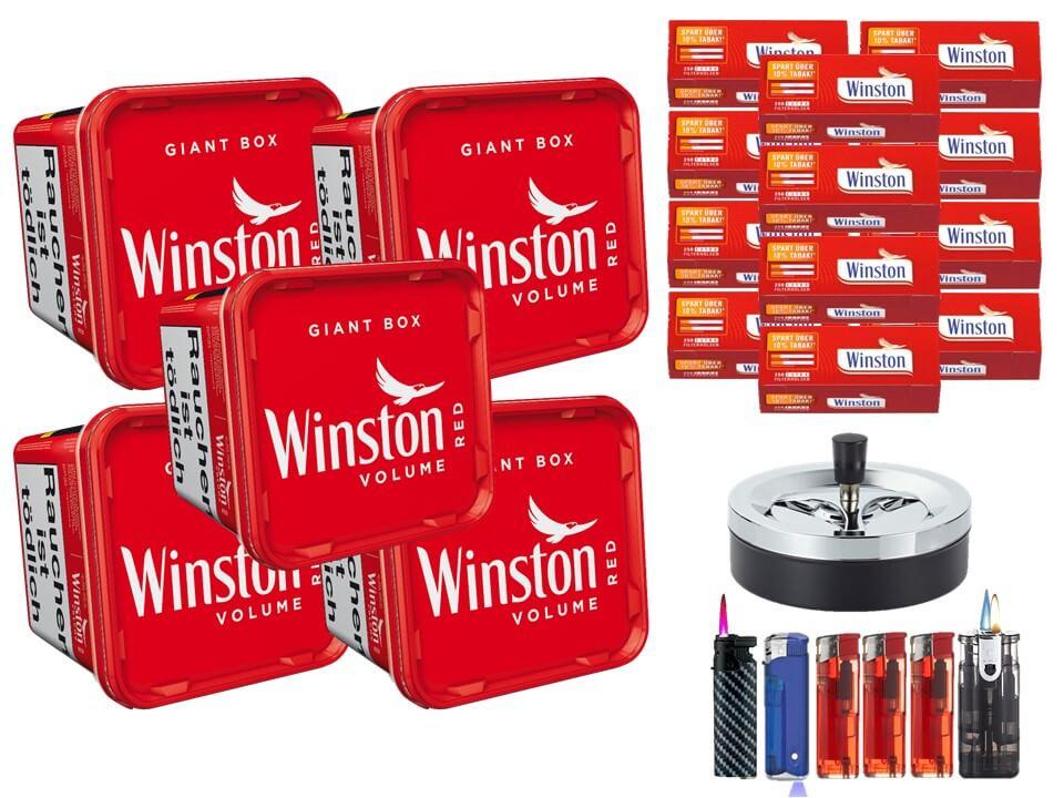 Winston Giant Box 5 x 280g Volumentabak 3000 Winston Extra Filterhülsen Uvm.