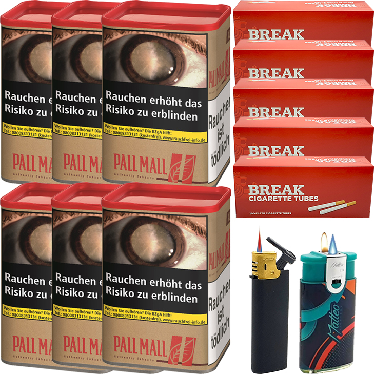 Pall Mall Authentic Red 6 x 60g mit 1000 King Size Hülsen