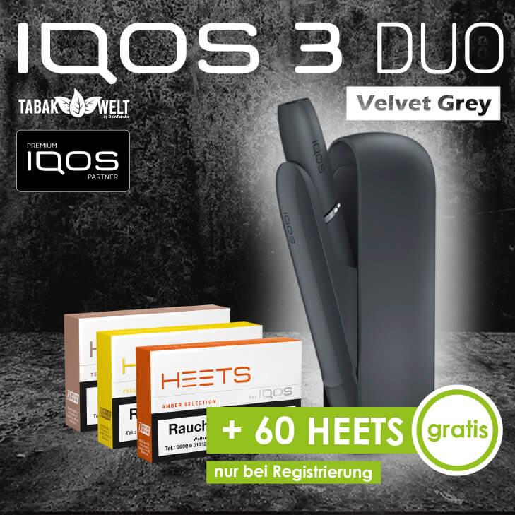 IQOS™ 3 DUO Starterkit Velvet Grey + 60 Heets