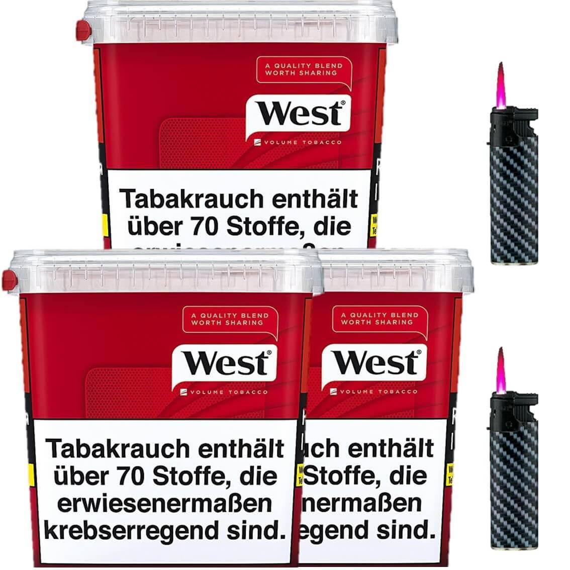 West Red 3 x 300g Volumentabak 2 x Sturmfeuerzeuge
