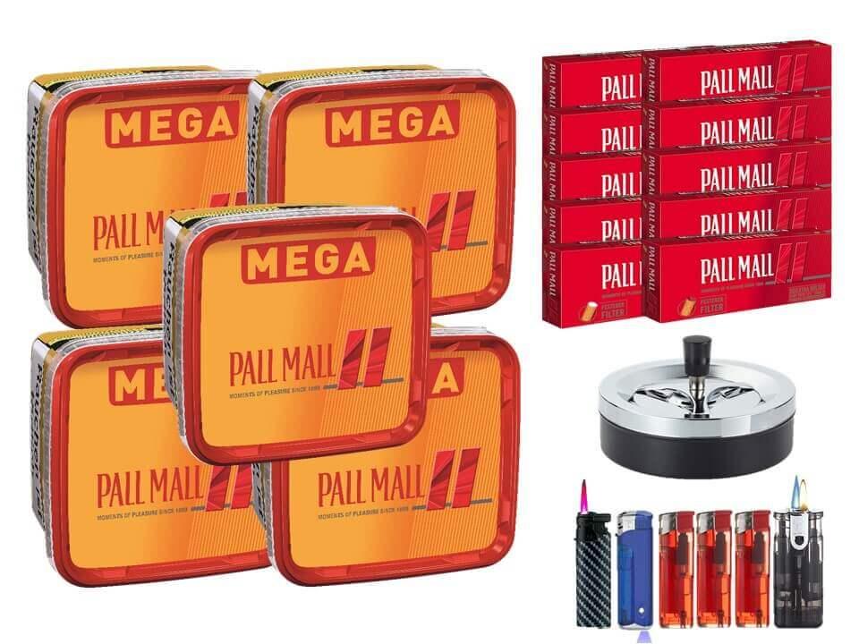 Pall Mall Mega Box 5 x 170g Volumentabak 2000 Filterhülsen Uvm.