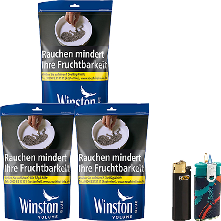 Winston Blue 3 x 135g mit Feuerzeuge