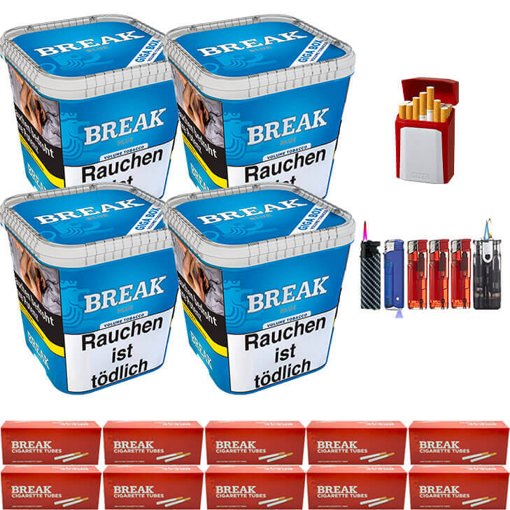 Break Blue / Blau 4 x 240g Volumentabak 2000 King Size Filterhülsen Uvm.