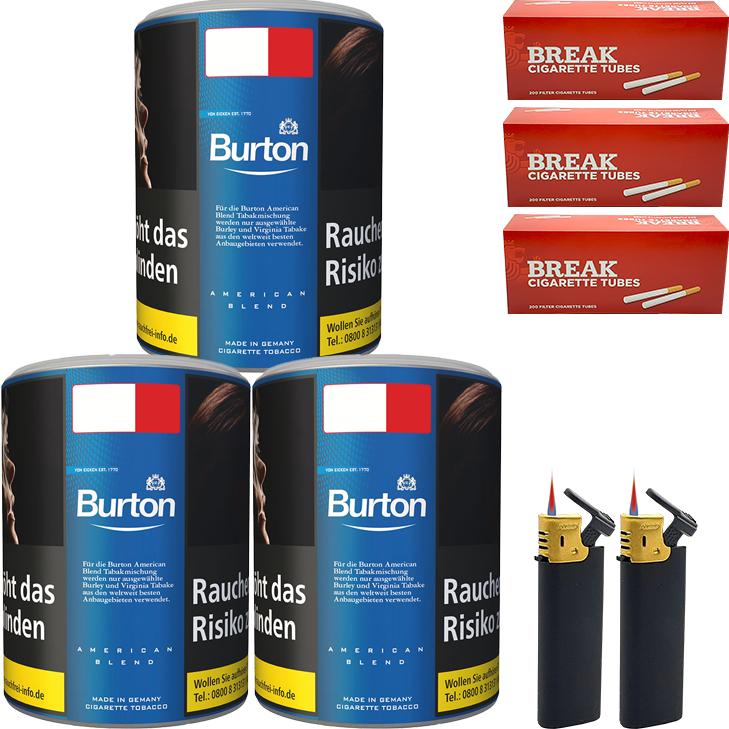 Burton Blue / Blau 3 x 120g mit 600 King Size Hülsen