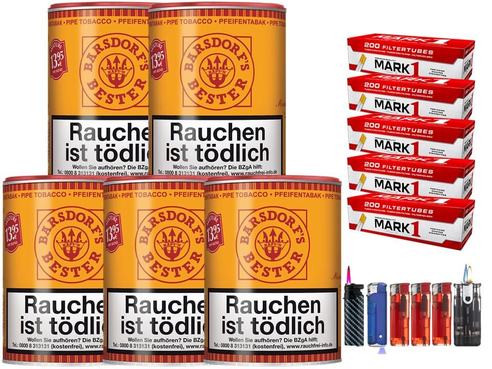 Barsdorf´s Bester Aromatic Mixture 5 x 160g Pfeifentabak 1000 Filterhülsen Uvm.