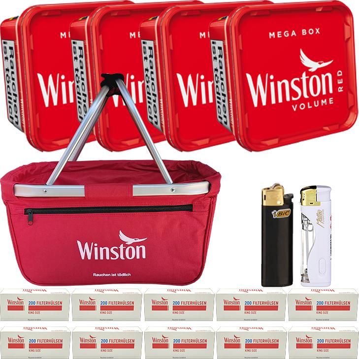 Winston Red 4 x 170g mit 2000 King Size Hülsen