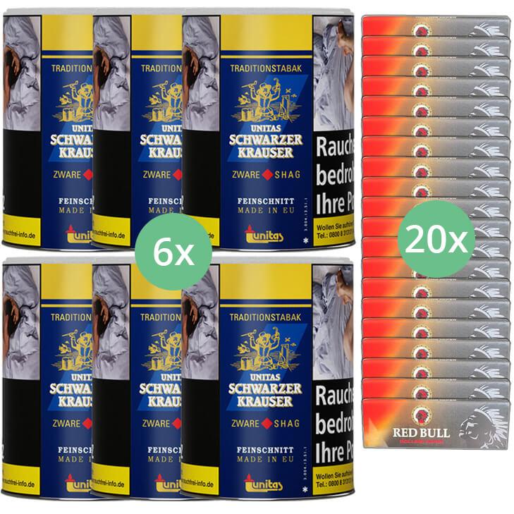 Schwarzer Krauser Zware Shag 6 x 125g Zigarettentabak Zigarettenpapier