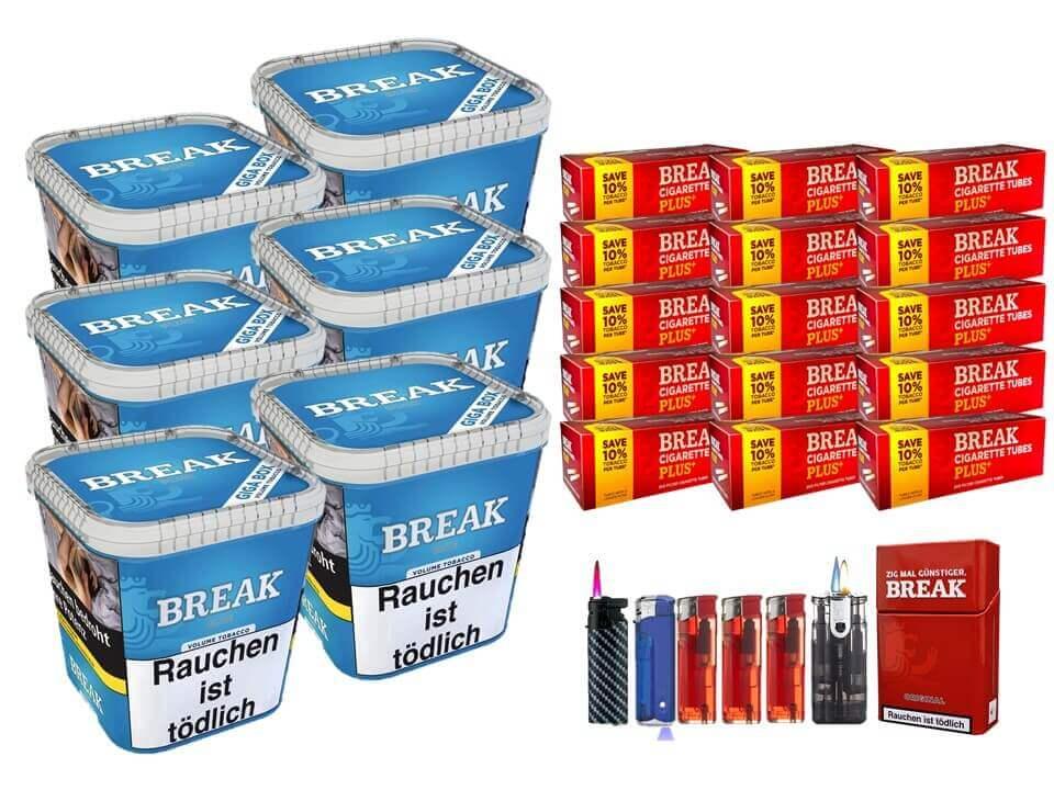 Break Blue / Blau 6 x 240g Volumentabak 3000 Break Xtra Plus Filterhülsen Uvm.