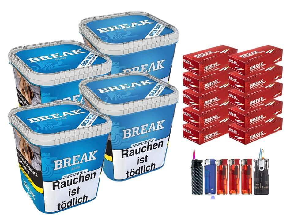 Break Blue / Blau 4 x 240g Volumentabak 2000 Break Filterhülsen Uvm.