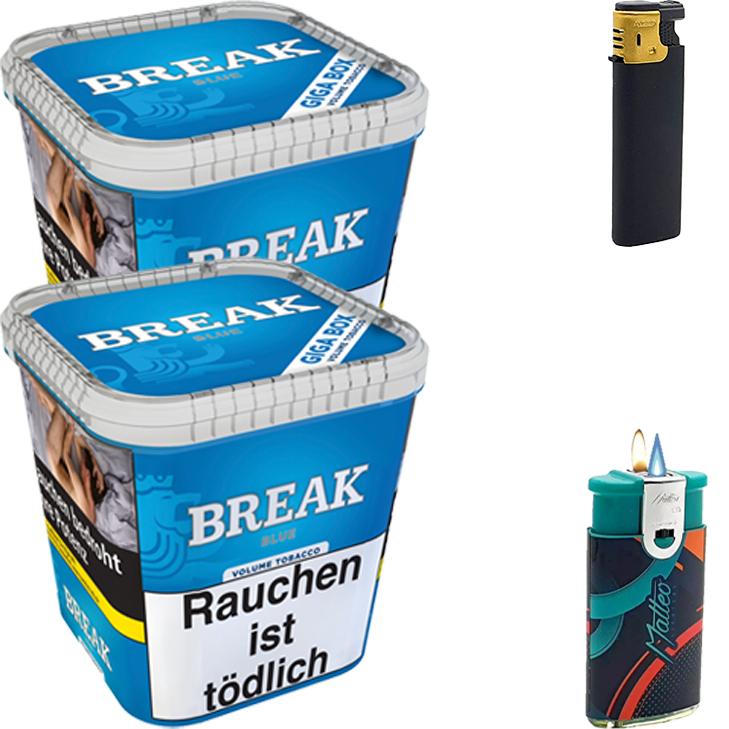 Break Blue / Blau 2 x 240g Volumentabak Feuerzeug Set