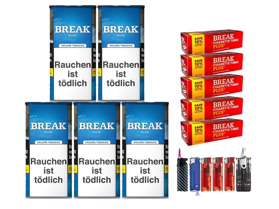 Break Blue / Blau 5 x 120g Volumentabak 1000 Break Xtra Plus Filterhülsen Uvm.