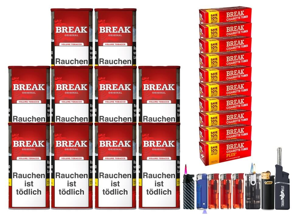 Break Original 10 x 120g Volumentabak 2000 Break Xtra Plus Filterhülsen Uvm.