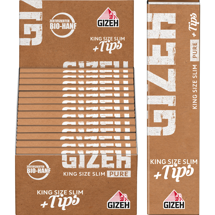 Gizeh Pure Fine King Size Slim 25 x 34 Blatt + Tips