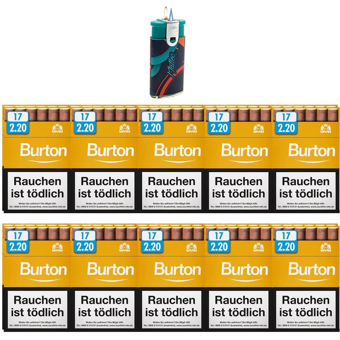 Burton Vanilla / Gold Zigarillos mit Filter (2 Stangen) 20 x 17 Stück