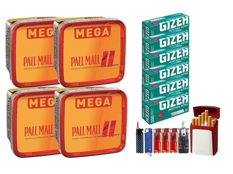 Pall Mall Mega Box 4 x 170g Volumentabak 1200 Filterhülsen Uvm.