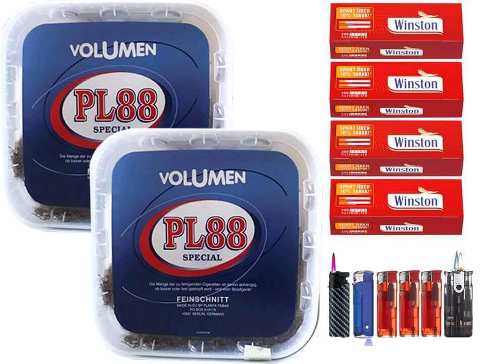 PL88 Blau 2 x 400g Volumentabak 1000 Extra Size Filterhülsen Uvm.