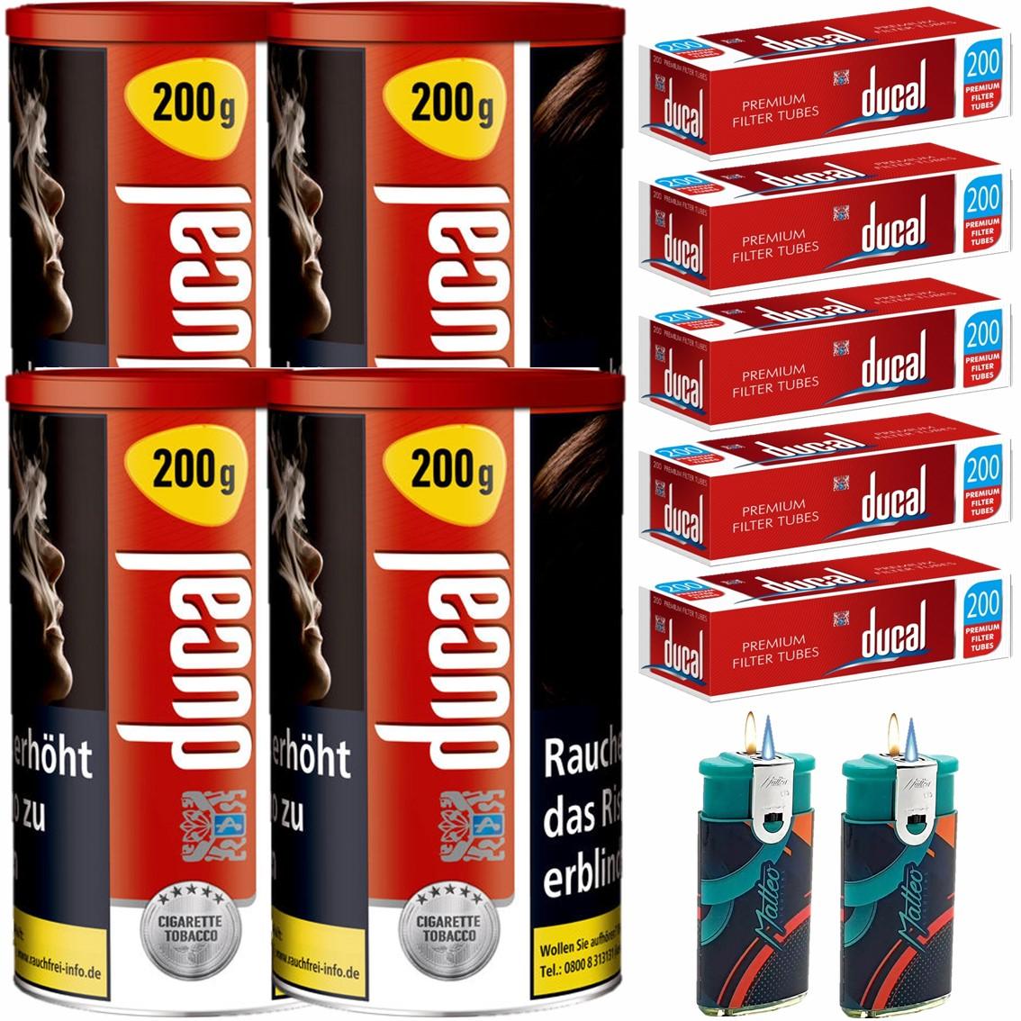 Ducal Red / Rot 4 x 200g Feinschnitt / Zigarettentabak 1000 Filterhülsen Uvm.