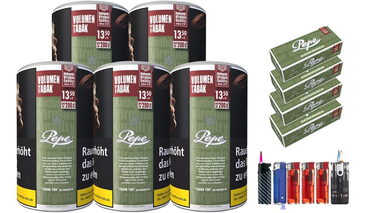 Pepe Rich Green 5 x 85g Volumentabak 800 Pepe Filterhülsen Uvm.