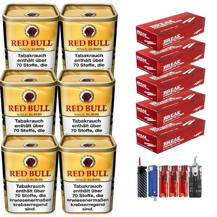 Red Bull Gold Blend 6 x 120g Feinschnitt 1000 Filterhülsen Uvm.