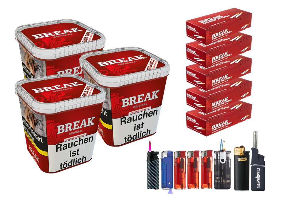 Break Original 3 x 240g Volumentabak 1000 Break Filterhülsen Uvm.