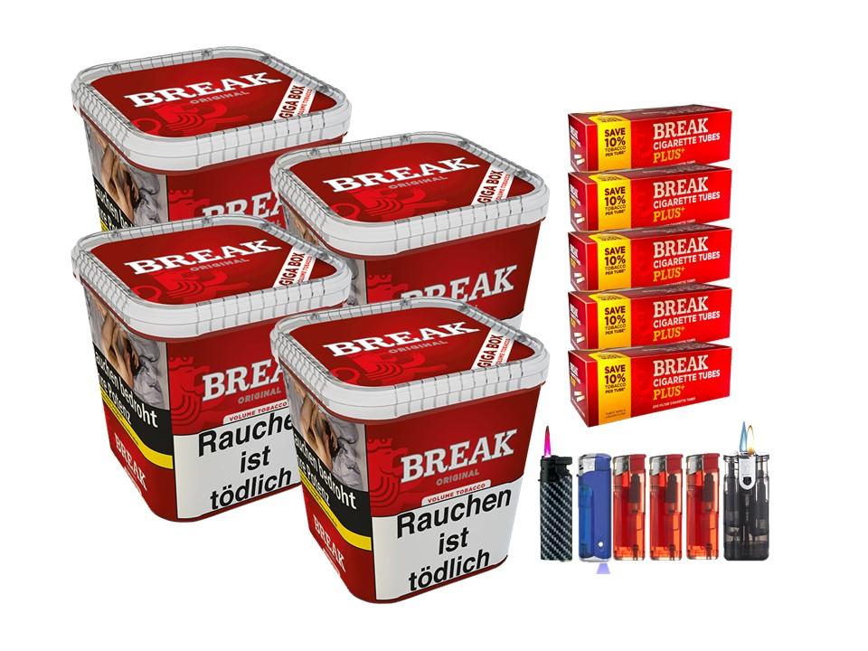 Break Original 4 x 240g Volumentabak 1000 Break Xtra Plus Filterhülsen Uvm.