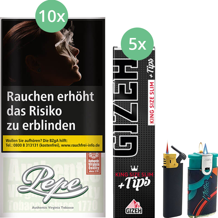 Pepe Fine Green 10 x 30g mit Gizeh Black Filter King Size Slim + Tips