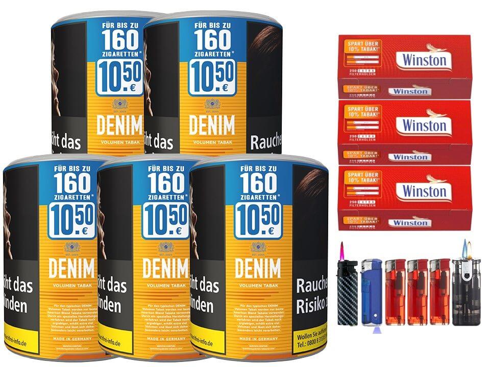 Denim XL 5 x 65g Volumentabak 750 Extra Filterhülsen