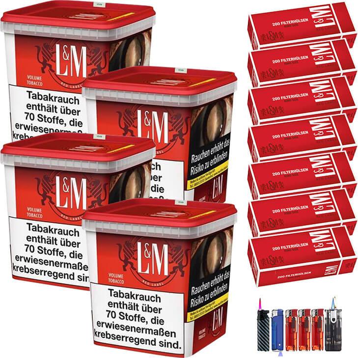 L&M Red Super Box 4 x 280g mit 1400 Hülsen