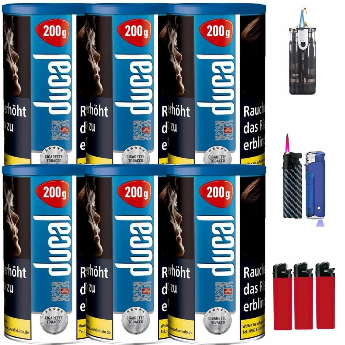 Ducal Blue / Blau 6 x 200g Feinschnitt / Zigarettentabak Feuerzeug Set