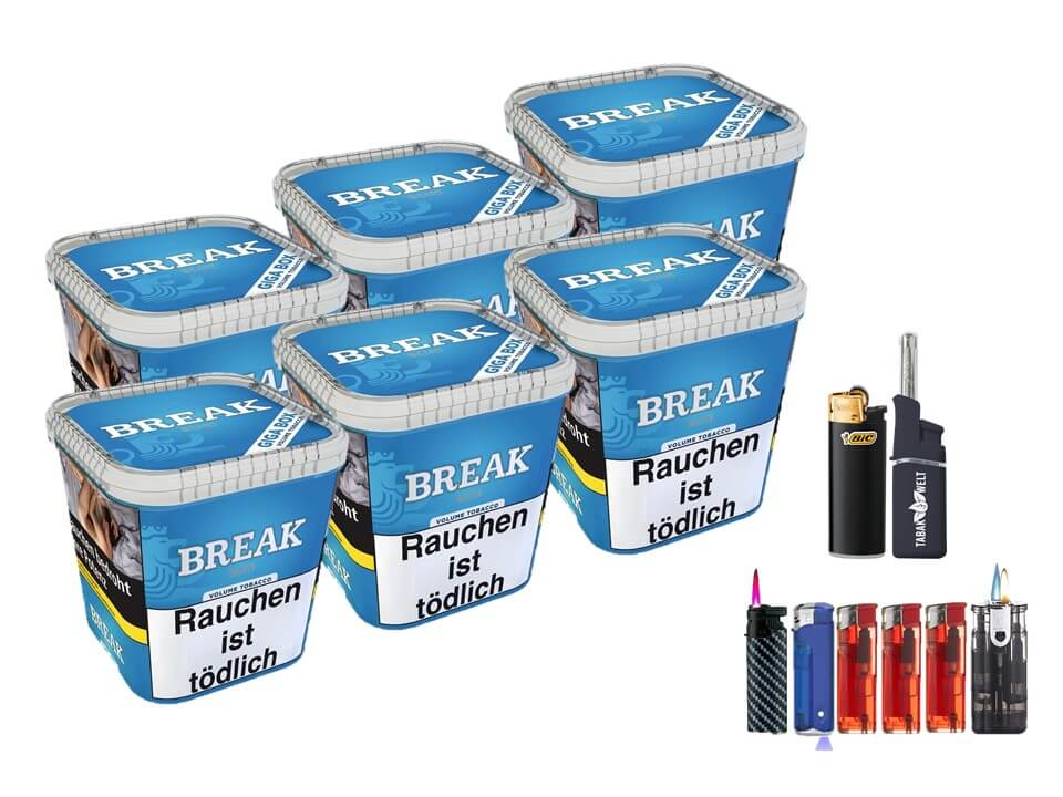 Break Blue / Blau 6 x 240g Volumentabak Feuerzeug Set