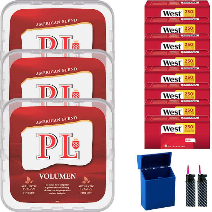 PL88 Red 3 x 400g Volumentabak 2000 Red Special Size Filterhülsen Uvm.