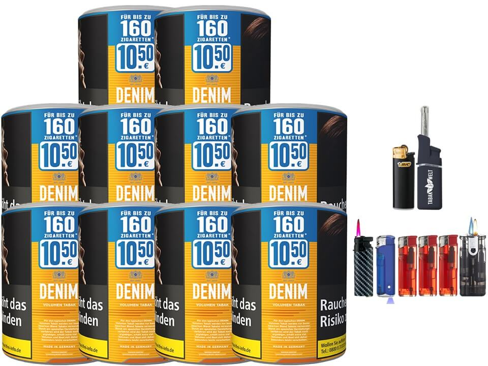 Denim XL 10 x 65g Volumentabak Feuerzeug set
