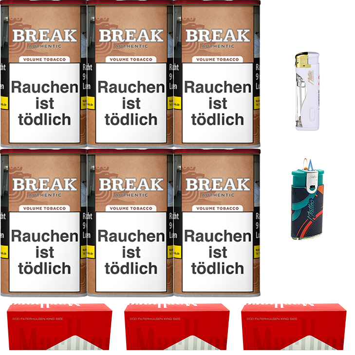 Break Authentic 6 x 75g mit Marlboro Red King Size Hülsen