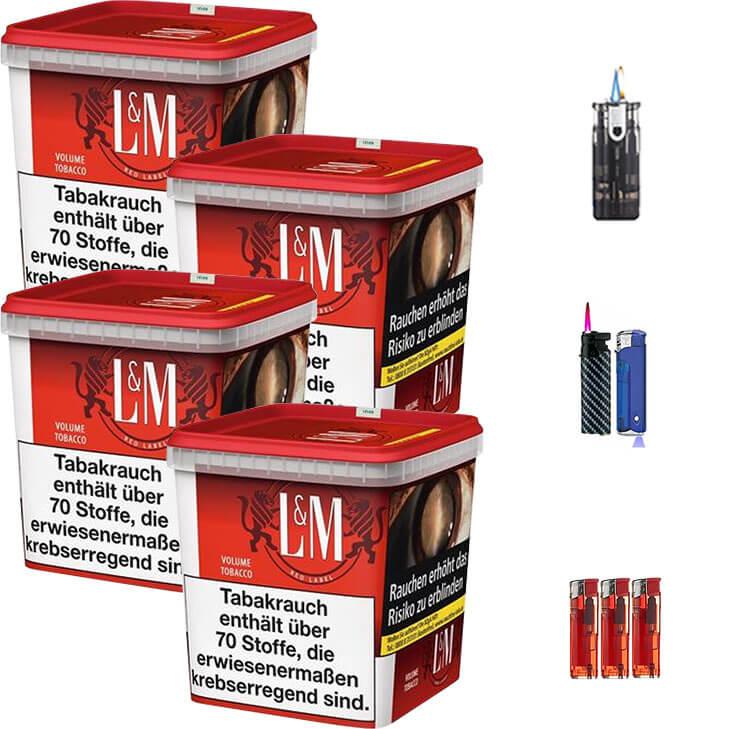 L&M Red Super Box 4 x 280g Volumentabak Feuerzeug Set